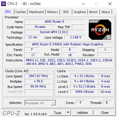 screenshot of CPU-Z validation for Dump [xx2twc] - Submitted by  Gunfourth  - 2020-09-16 16:27:56