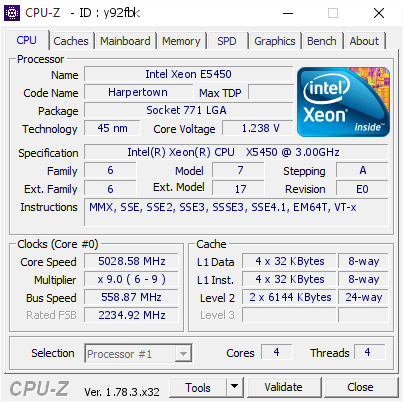 bolc`s CPU Frequency score: 5028 58 mhz with a Xeon X5450