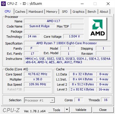 AMD K17 @ 4178 62 MHz - CPU-Z VALIDATOR