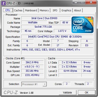 Intel Core 2 Duo E8400 @ 2662 9 MHz - CPU-Z VALIDATOR