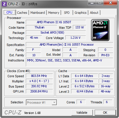Amd Phenom Ii X6 1050t 803 54 Mhz Cpu Z Validator