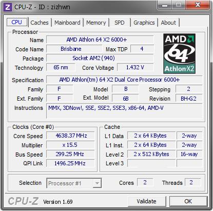 Amd Athlon 64 X2 6000 4638 37 Mhz Cpu Z Validator