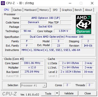 AMD Opteron 180 (UP) @ 3301 06 MHz - CPU-Z VALIDATOR