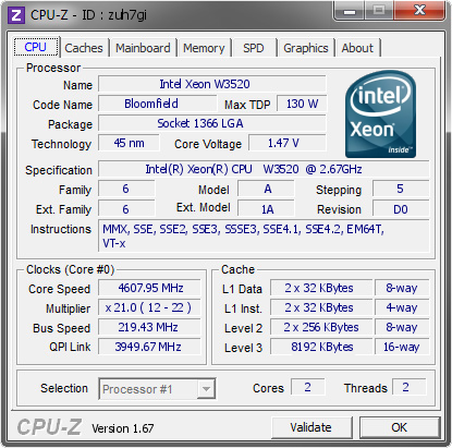screenshot of CPU-Z validation for Dump [zuh7gi] - Submitted by  skier  - 2013-11-17 16:11:19