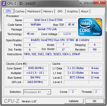 screenshot of CPU-Z validation for Dump [zw1i37] - Submitted by  URBAN-PC  - 2014-01-29 19:01:19