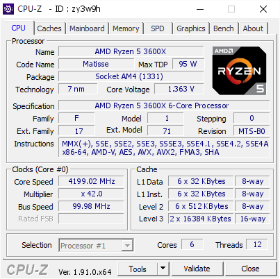 screenshot of CPU-Z validation for Dump [zy3w9h] - Submitted by  PCPAIRGUN  - 2020-01-02 01:24:50